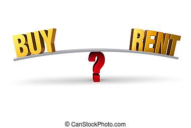 whether, decidir, compra, aluguel, ou