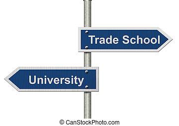 whether, université, ou, aller, école, commercer, décider