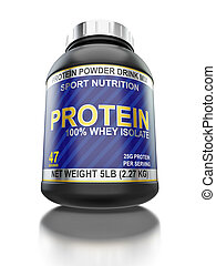 Whey isolate protein jar isolated on white background with...