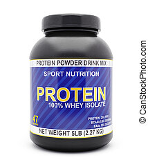 Whey isolate protein jar isolated on white - Sport...