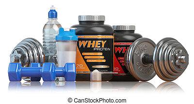 whey, protéine, shaker., concept., sports, musculation, suppléments, ou, nutrition., style de vie, sain, fitness, dumbbells
