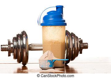 whey, proteïne, poeder, in, primeur, dumbbell, meter, cassette, en, plastic, shaker, op, houten, achtergrond.