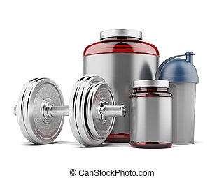 whey protein and dumbell isolated on a white background. 3d...