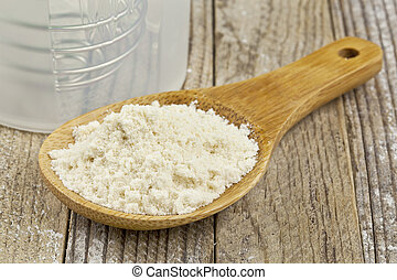 whey protein concentrate powder on wooden scoop and a shaker bootle - nutrition concept