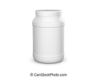 Whey protein container on a white background. 3d...