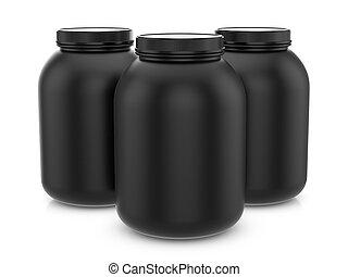 Whey protein containers - Whey protein container on a white...
