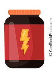 Whey protein in a jar vector cartoon illustration. - Whey...