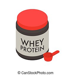 Whey protein isolate in big jar and scoop, sport nutrition for bodybuilders isolated on white background