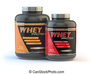 Whey protein isolated on white. Sports bodybuilding...