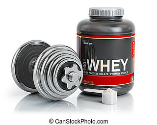 Whey protein powder with scoop and dumbbell.Bodybuilder...