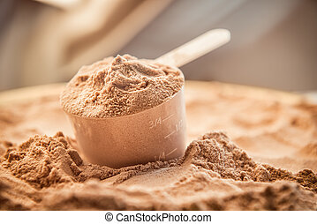 Whey protein scoupe. Sports nutrition.
