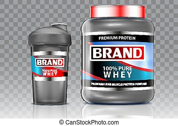 Whey protein shaker vector realistic mock up set - Whey...