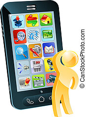 Which app concept, a person looking up at a mobile phone ...