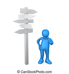 Which Direction - 3d person standing next to multiple arrow...