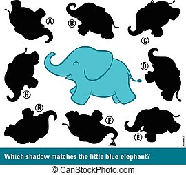 Which shadow matches the cartoon elephant
