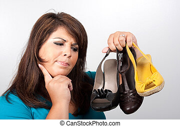Which Shoes Should I Wear - A young woman over a silver ...