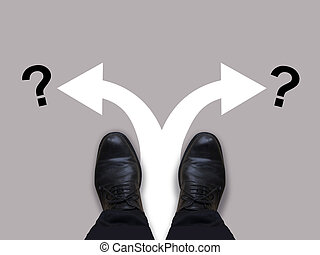 Which way - direction choices and decisions for businessman