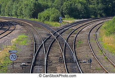 Which way? - A railway junction with lines curving to left...