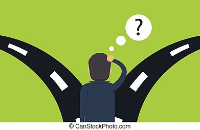 Which way to choose concept. Illustration of businessman is hesitating at the crossroads
