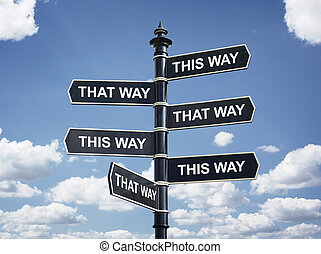 Which way to go? - Crossroad signpost saying this way and...