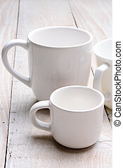Whie Cups on White Background - White coffee cups on a white...