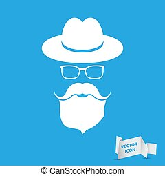 whie hat with mustache, beard and glasses isolated on a blue bac