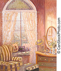 Whimiscal oil painting of a child\'s bedroom