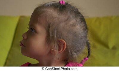 wicked little cute asian girl, closeup portrait