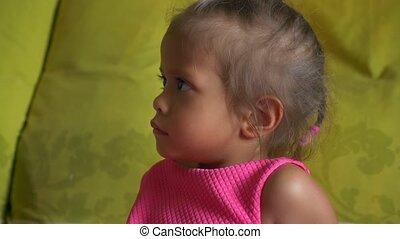 whims children concept, wicked little cute asian girl, closeup portrait