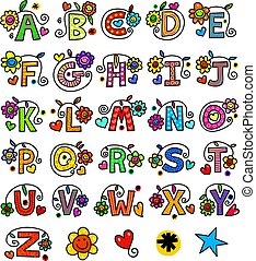 Whimsical Alphabet Monograms - A set of 26 letters of the...