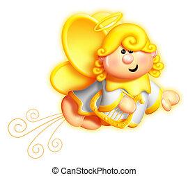 Whimsical Cartoon Angel and Harp