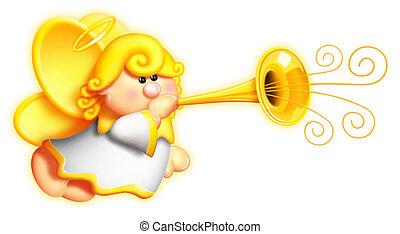 Whimsical Cartoon Angel and Horn