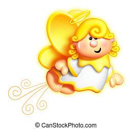 Whimsical Cartoon Angel Flying