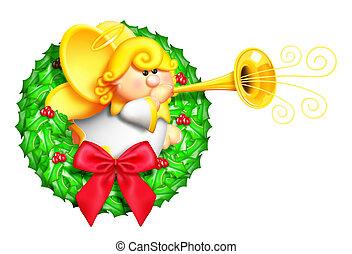 Whimsical Cartoon Angel Wreath