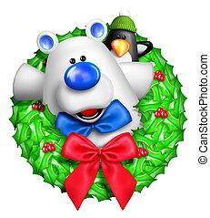 Whimsical Cartoon Bear Wreath