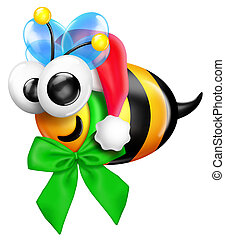 Whimsical Cartoon Bee with Santa Hat