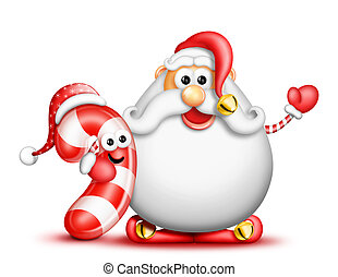 Whimsical Cartoon Big Beard Santa