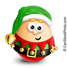 Whimsical Cartoon Christmas Egg Elf