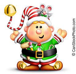 Whimsical Cartoon Christmas Elf