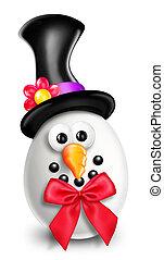 Whimsical Cartoon Christmas Snowman