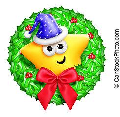 Whimsical Cartoon Cute Star Wreath