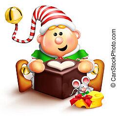 Whimsical Cartoon Elf and Chocolate