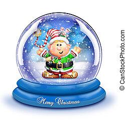 Whimsical Cartoon Elf Snow Globe