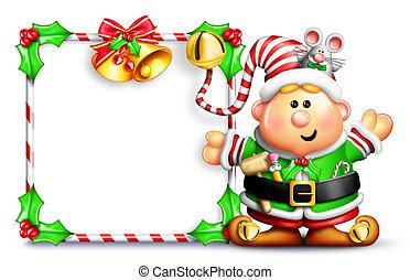 Whimsical Cartoon Elf with Sign - Whimsical Cartoon Elf in...