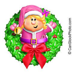 Whimsical Cartoon Elf Wreath