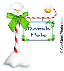 Whimsical Cartoon North Pole Sign