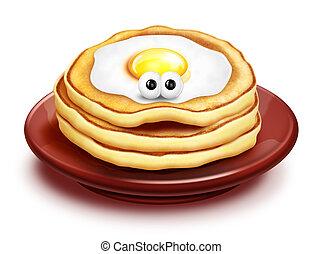 Whimsical Cartoon Pancake Stack