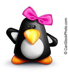 Whimsical Cartoon Penguin Girl