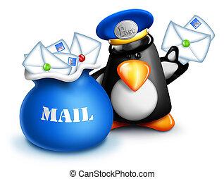 Whimsical Cartoon Penguin Mailman