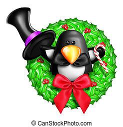 Whimsical Cartoon Penguin Wreath